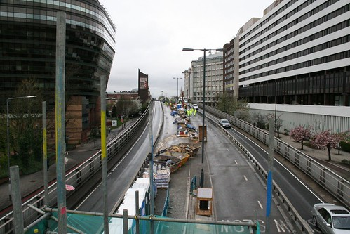 Looking down the flyover from scaffolding