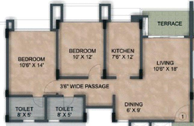 Kalpataru Serenity, 2 BHK & 3 BHK Flats at Manjri, opp. Navratna Mangal Karyalay, Mahadev Nagar, Pune 412 307 - Building 6 - Wing B - 2 BHK Flat - 1118 Carpet - 1149 Saleable - Non Garden Facing - 1st to 4th Floors - Rs. 44.36 Lakhs