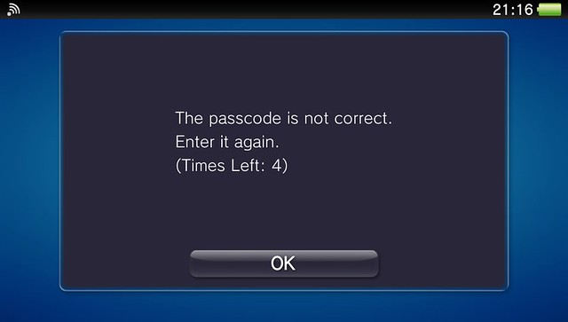 Vita passcode entered incorrectly