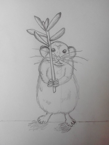 mr. mouse with succulent umbrella sketch