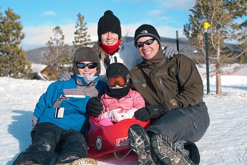 family sledding
