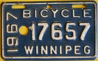 WINNIPEG MANITOBA 1967 ---BICYCLE PLATE