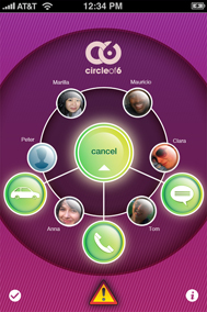 screen cap of the phone app showing six contacts in a circle
