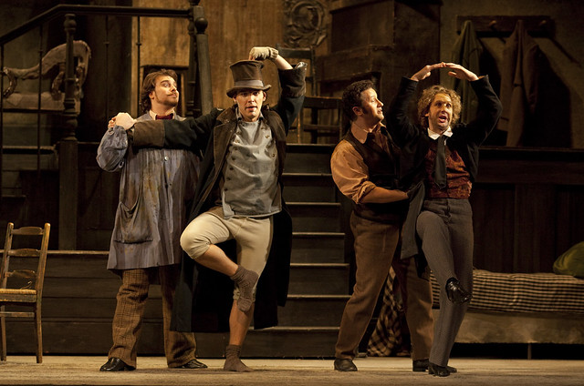 Gabriele Viviani as Marcello, Kostas Smoriginas as Colline, Piotr Beczała as Rodolfo and Jacques Imbrailo as Schaunard in La Bohème © Johan Persson/ROH 2009