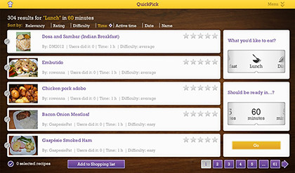 Quick Pick search makes it easy to find the right dish for any meal.