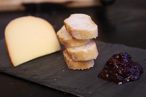 Mahon with Baguette Slices and Sour Cherry Spread