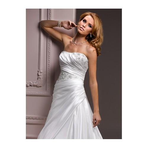 A-line Strapless Beaded Satin Wedding Dress