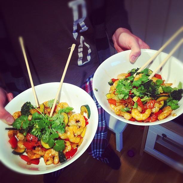 Scampi-wok