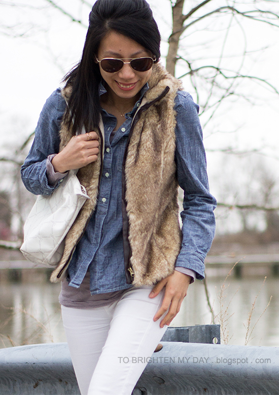 faux fur vest, chambray shirt, white jeans
