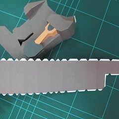 วิธีทำโมเดลกระดาษ ตุ้กตาไลน์ หมีบราวน์ ถือพลั่ว (Line Brown Bear With Shovel Papercraft Model -「シャベル」と「ブラウン」) 018