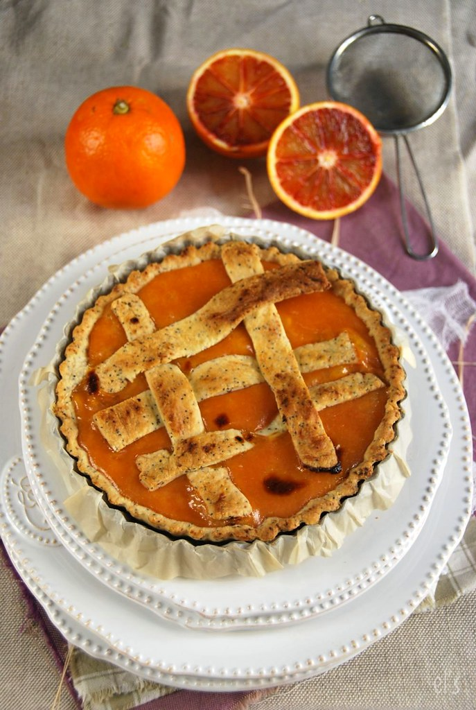Tarte à l'orange sanguine et pavot