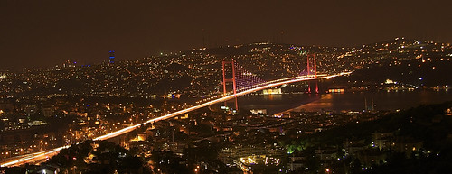 Bridge on Bosphorus at night