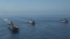 USS Boxer (LHD 4), USS New Orleans (LPD 18) and USS Harpers Ferry (LSD 49) steam in formation in the Pacific. (U.S. Navy file photo/MC3 Mark El-Rayes)