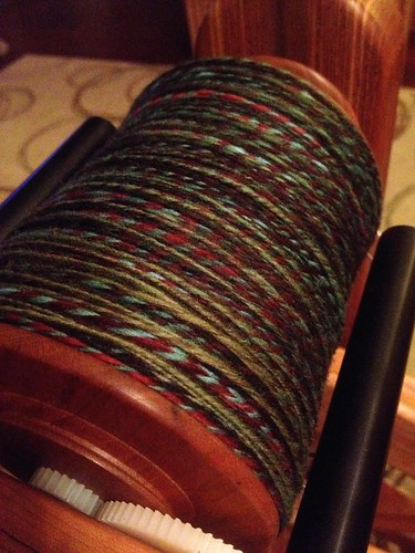 First plying pass completed. Tomorrow, I need to wind it into a cake for pass two. #cableply