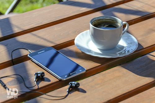 Relax with a smartphone and coffee