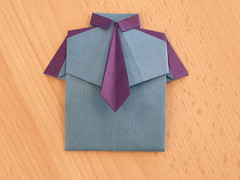 Shirt with tie by Asako Moriya