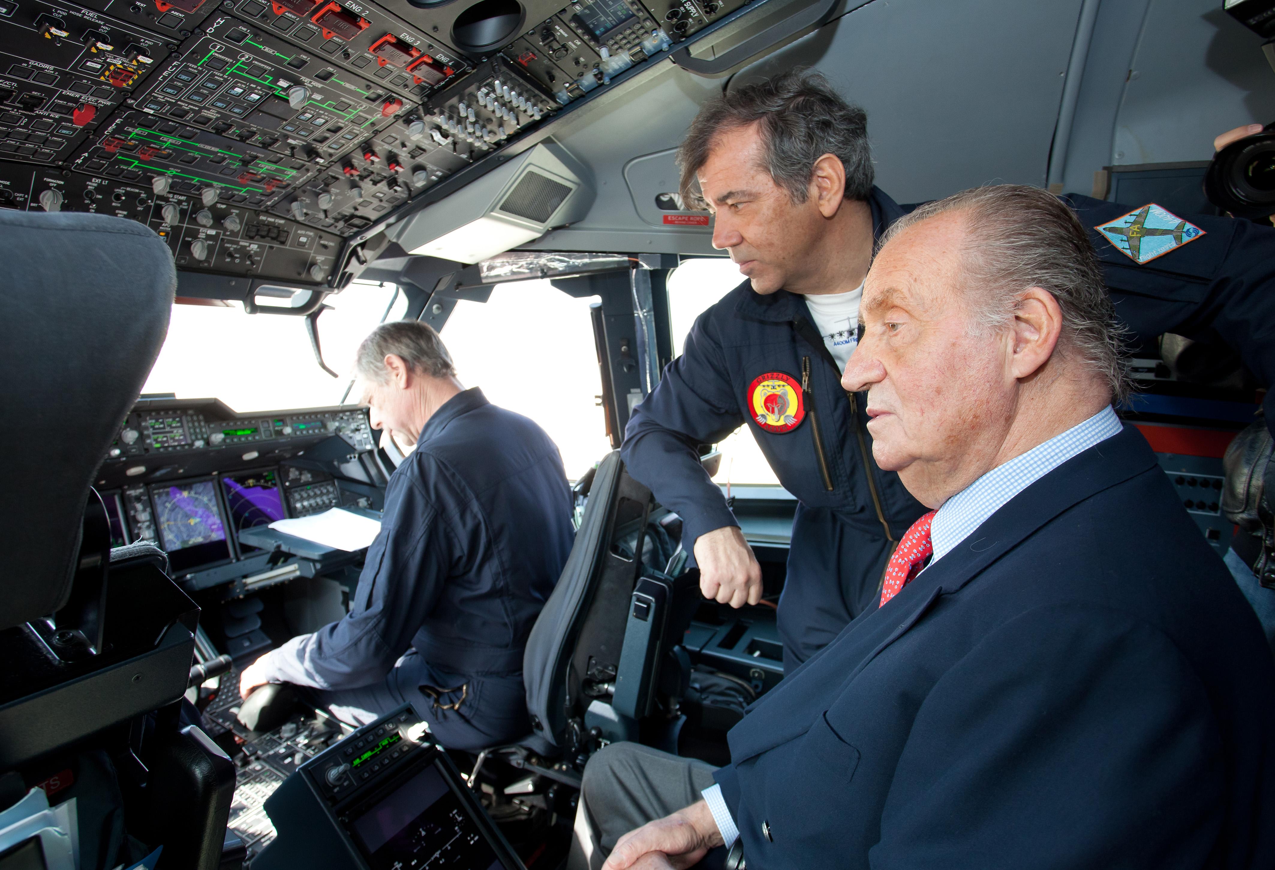 Rey Juan Carlos a bordo del A400M