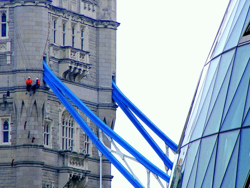 Abseilers at Tower Bridge