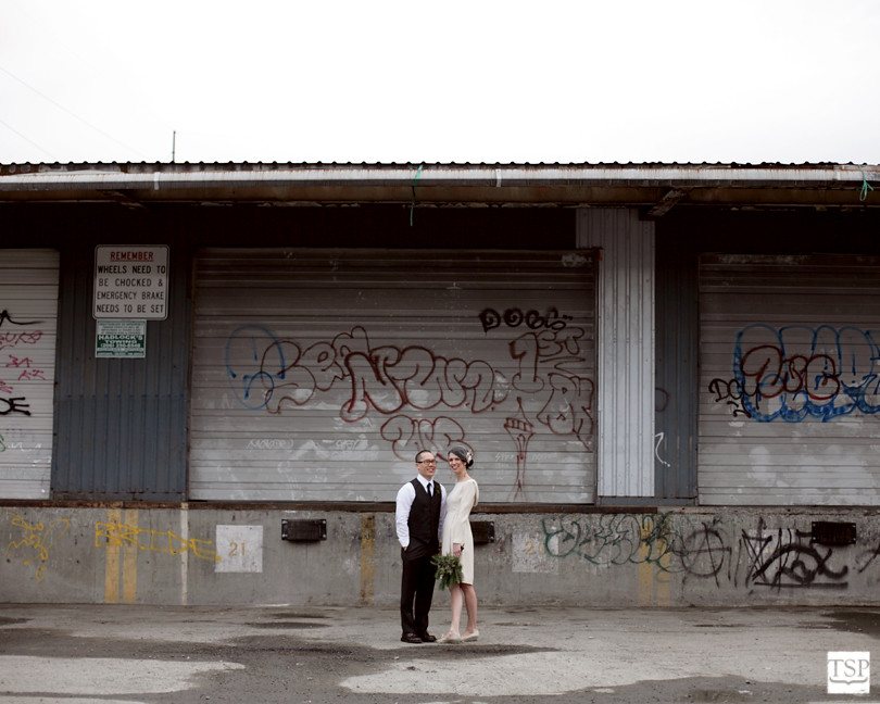 Bride and Groom in front of Graffiti