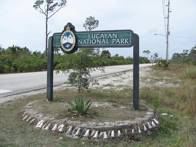 Lucayan National Park entrance sign