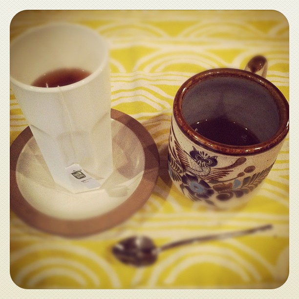 Making espresso almond milk tea in my fave yard sale mug.