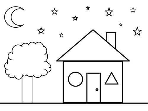 Shapes Coloring Sheet House Clermont County Public Library Flickr