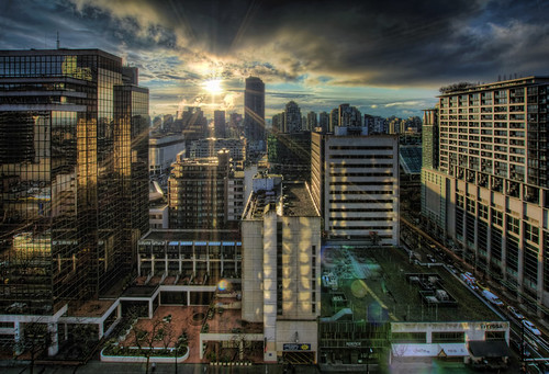 Sunrise over Vancouver BC Downtown - HDR