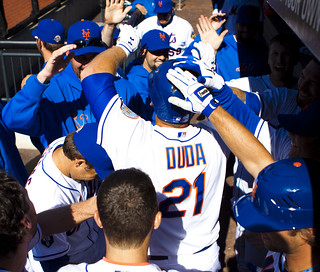 Lucas Duda is congratulated for his home run
