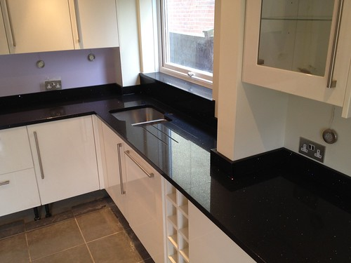 Premium Black Mirror Quartz Countertops Installed Spm