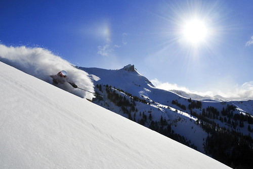 Dan Keenan skiing on a bluebird powder day at Kirkwood Mountain Resort near South Lake Tahoe, California.