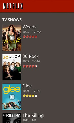 Netflix Windows Phone app v2.0