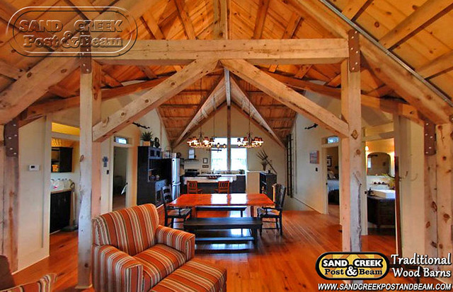 Barn home interior sand creek post beam traditional for Pole barn homes inside
