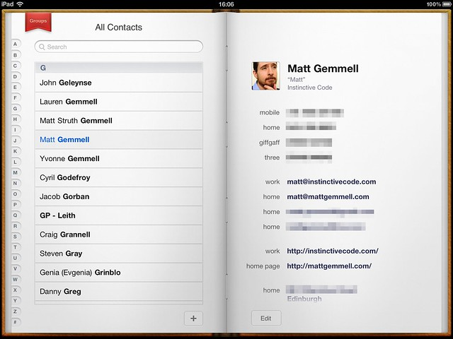 Contacts on iPad