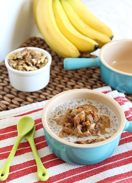 Quinoa breakfast cereal with caramelized bananas