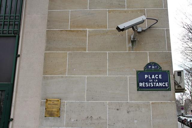 Place de Resistance, Security Camera, and Bulgarian Embassy, Paris, February 2012