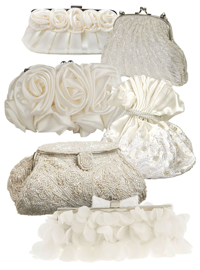 ivory satin and beaded wedding bags