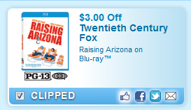$3.00 Off Raising Arizona On Blu-ray  Coupon