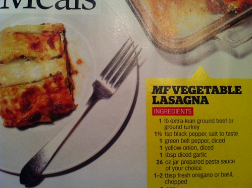 MF vegetable lasagna, first ingredient: ground beef.