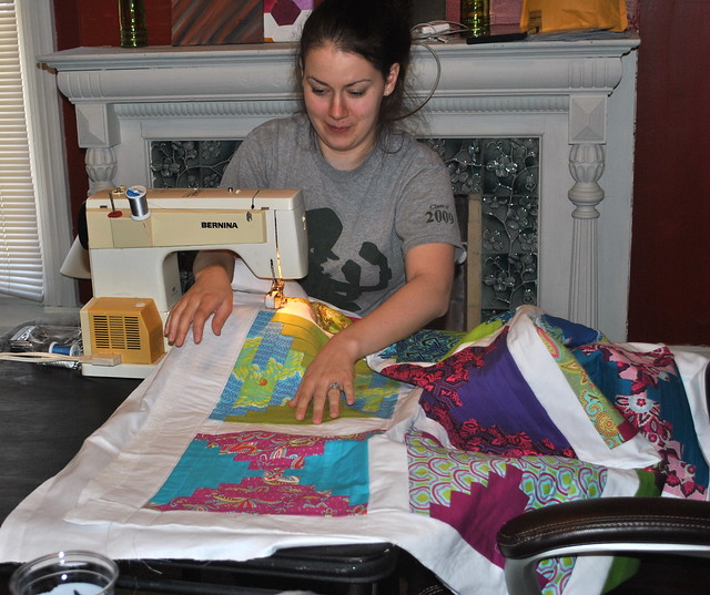 She's already basted and started quilting this one!