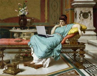 A Pompeian Beauty, Blogging, after Raffaele Giannetti