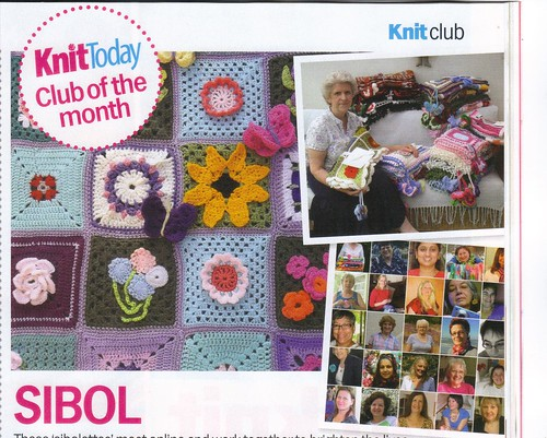'SIBOL' - 'Club of the Month!' 'Knit Today Magazine April 2012'. 'Congratulations SIBOLETTES! Well done! I'm so proud of you!