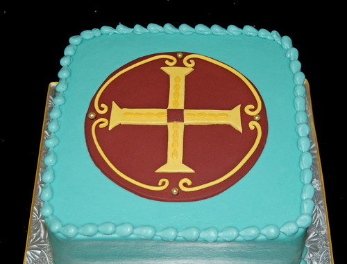 Communion Cake - blue, gold and maroon