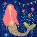 Pink Mermaid Painting Art by Sascalia Mixed Media Mermaid Collage Painting by sascalia
