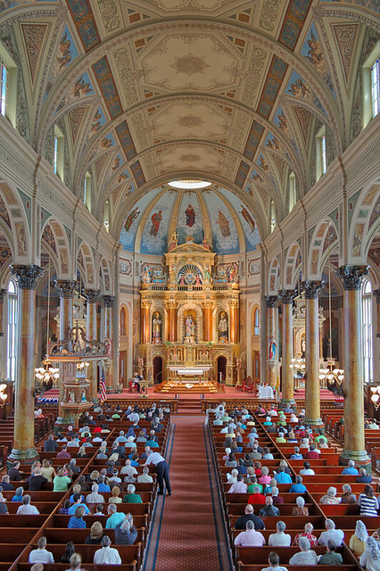 Shrine of Saint Joseph, in Saint Louis, Missouri, USA - view of nave from choir loft