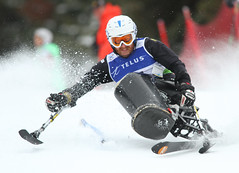 Caleb Brousseau in an IPC World Cup slalom in Panorama, B.C.