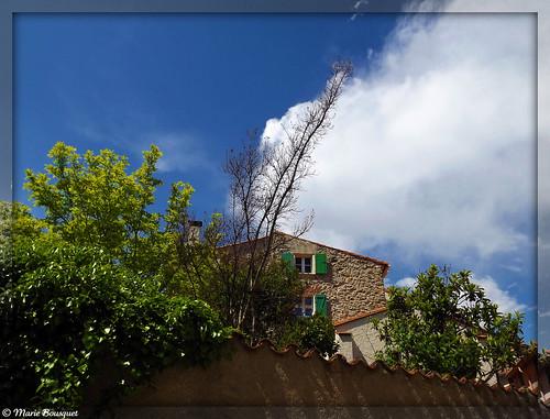 Maison de pierre aux volets verts à Laroque-des-Albères