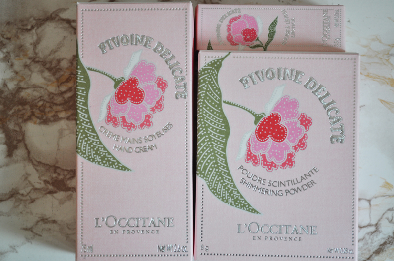 l'occitane peony pivione flora collection perfume lipstick hand cream highlighter shimmer powder 8