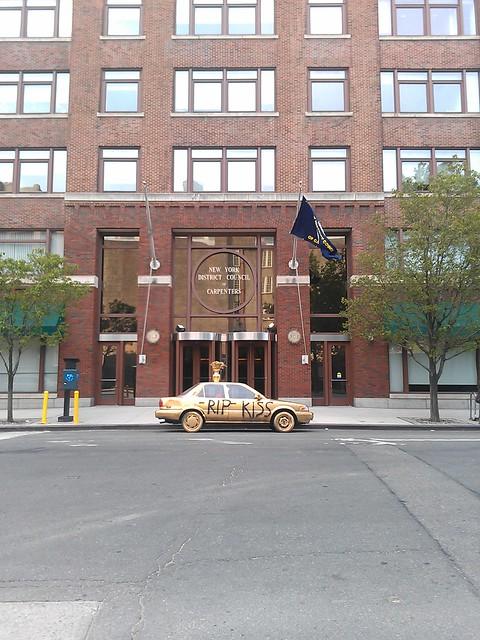 R.I.P. KISS-FM golden car in front of 395 Hudson Street