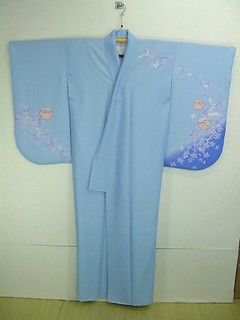 Blue Ko-Furisode with Usagi and Yukiwa