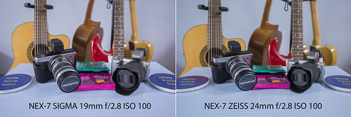 Comparison between SIGMA 19mm f/2.8 and ZEISS 24mm f/1.8 SONY NEX-7 @ f/2.8